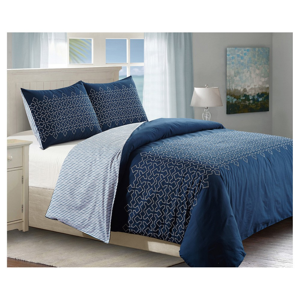 Image of Blue & White Geo Embroidered Meadow Duvet Cover Set (King) 3pc - Style Quarters