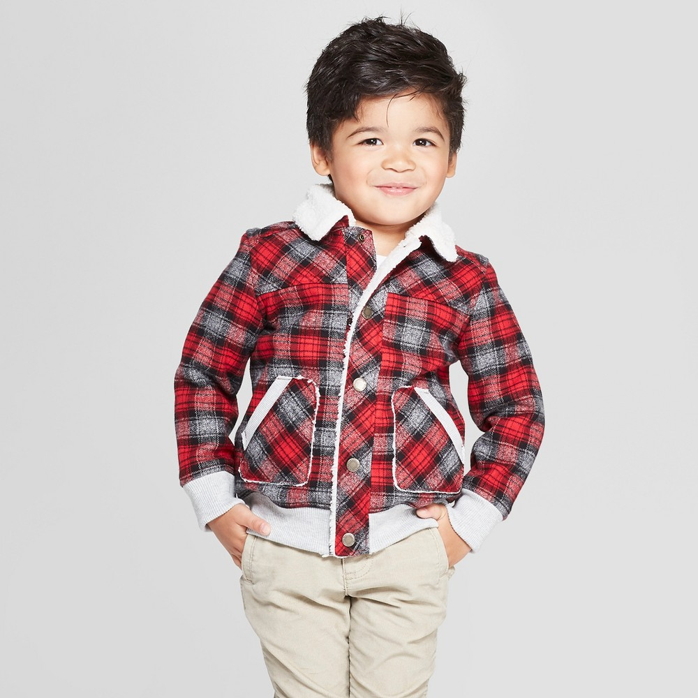 Image of Genuine Kids from OshKosh Toddler Boys' Sherpa Trucker Track Jacket - Red 12M, Toddler Boy's