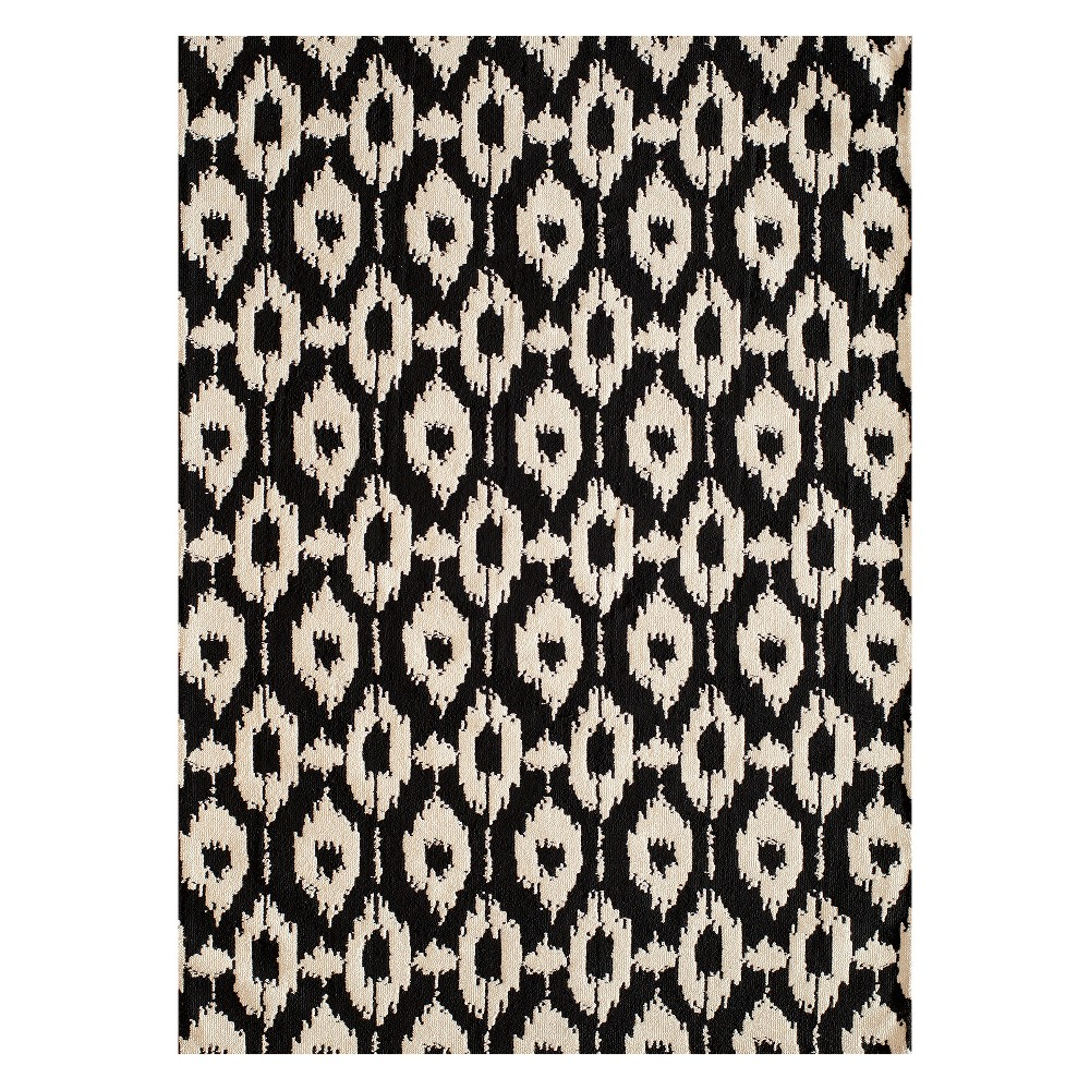 3'X5' Ikat Design Tufted Accent Rug Black - Momeni