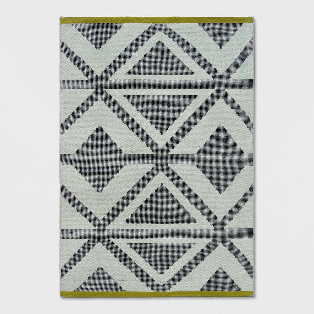 Jacquard Woven Area Rug 5'X7' Black/Chevron/Yellow - Project 62 was $129.99 now $64.99 (50.0% off)