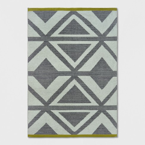Black Chevron Yellow Bordered Woven Area Rug Project 62