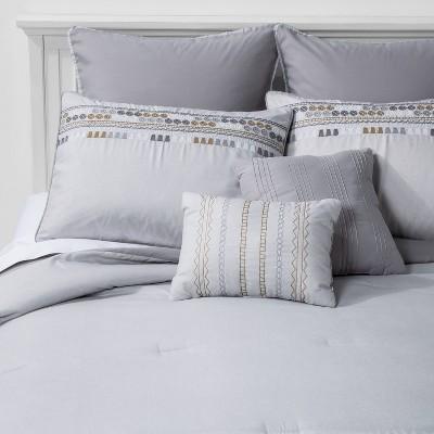 Full Dori Geometric Comforter & Sham Set Gray - Hallmart Collectibles