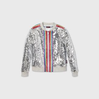 Girls' JoJo Siwa Rainbow Taping Sequin Bomber Jacket - Silver L