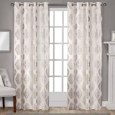 "Set of 2 108""x54"" Augustus Metallic Light Filtering Grommet Top Window Curtain Panel OffWhite - Exclusive Home"