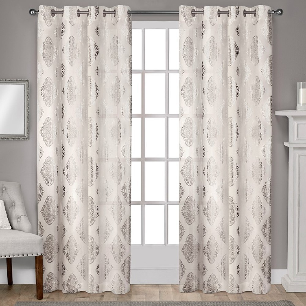 Augustus Metallic Light Filtering Grommet Top Window Curtain Panel Pair Off-White (Beige) 54x108 - Exclusive Home