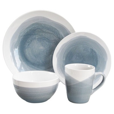 16pc Stoneware Dinnerware Set Blue/Gray American Atelier