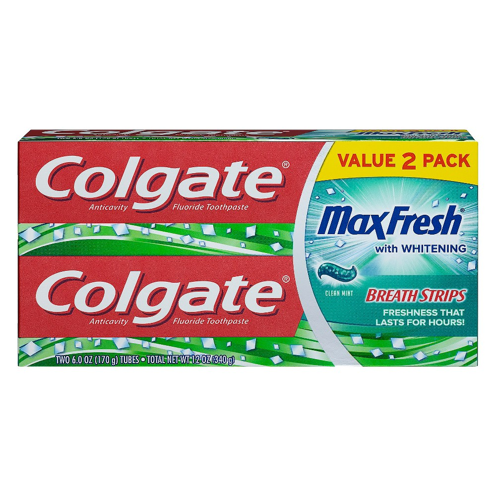 Image of Colgate Max Fresh Toothpaste with Mini Breath Strips - Clean Mint - 6oz/2pk