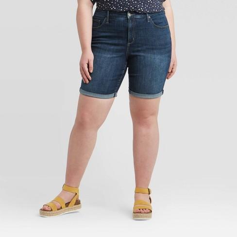 Women's Plus Size Mid-Rise Bermuda Jean Shorts - Universal Thread™ - image 1 of 3