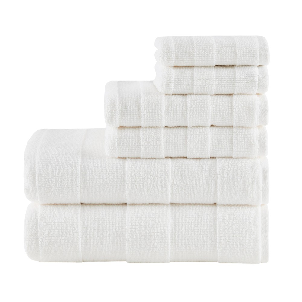 "Image of ""28""""x54"""" Parker Luxury Stripe Cotton 6pc Towel Set Ivory"""