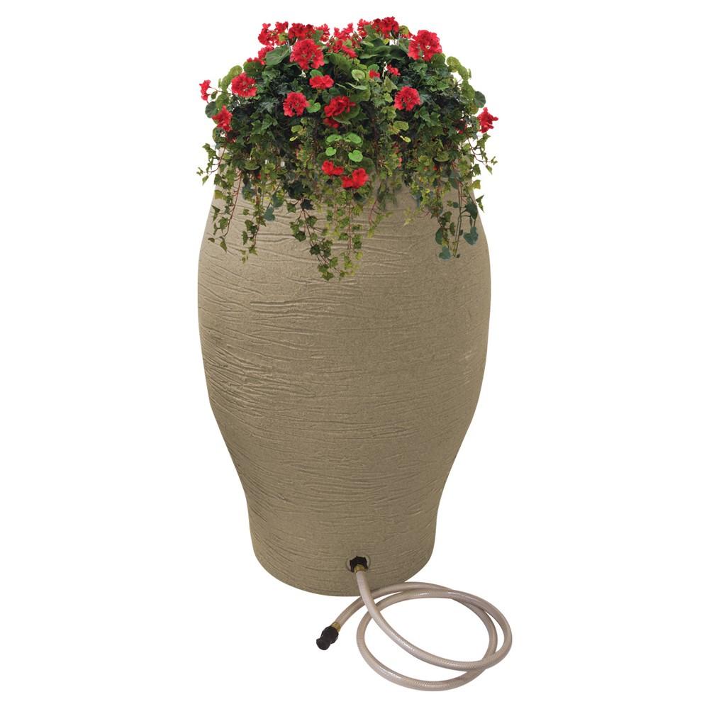 50 Gallon Oval Flatback Stoneware Urn Rain Barrel - Sand (Brown) - Emsco