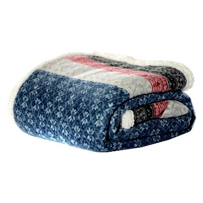 "50""x70"" Fair Isle Sherpa Throw Blanket Blue - Eddie Bauer"
