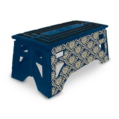 """13"""" eXpace Folding Step Stool With Printing Damask Royal Blue"""