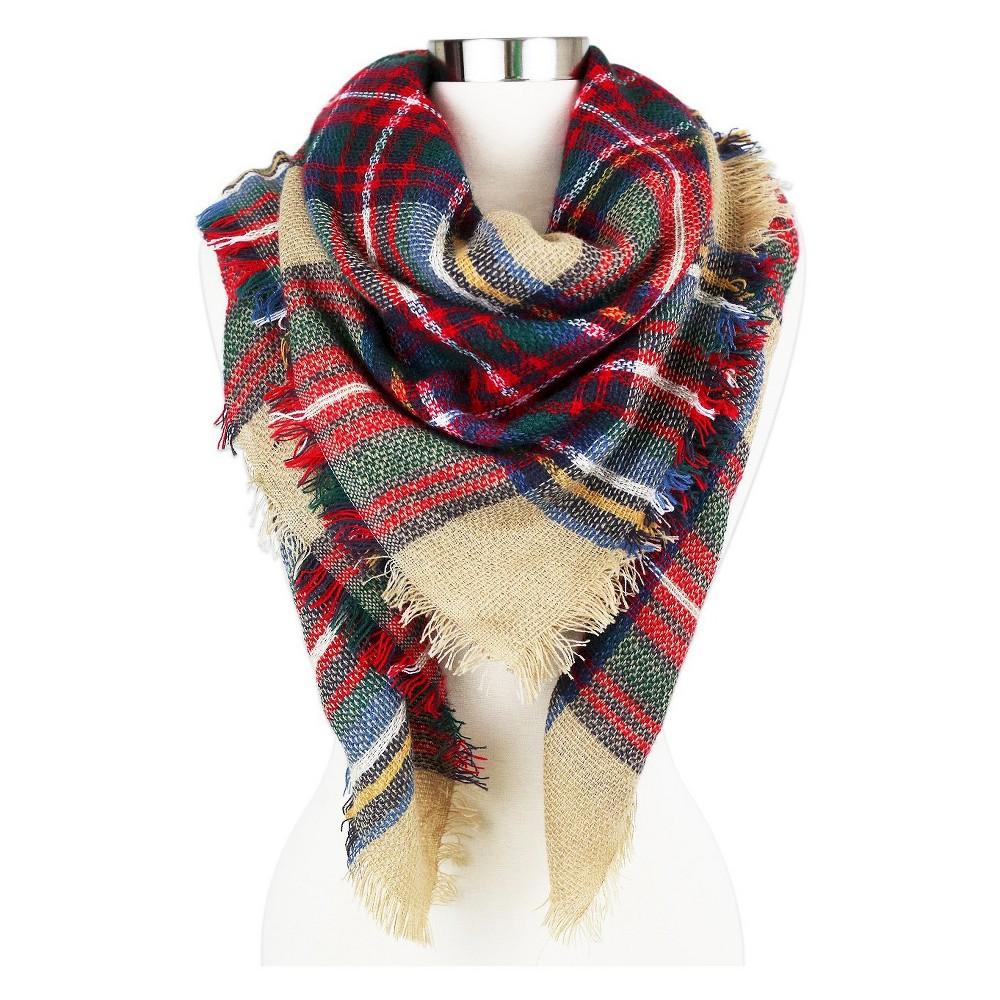 Women's Plaid Blanket Wrap Scarf Black - Sylvia Alexander, Camel