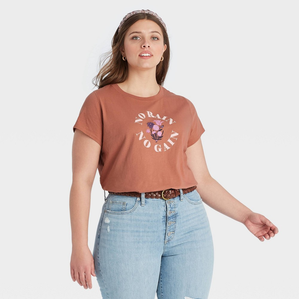 Women 39 S Plus Size Short Sleeve T Shirt Universal Thread 8482 Brown 4x