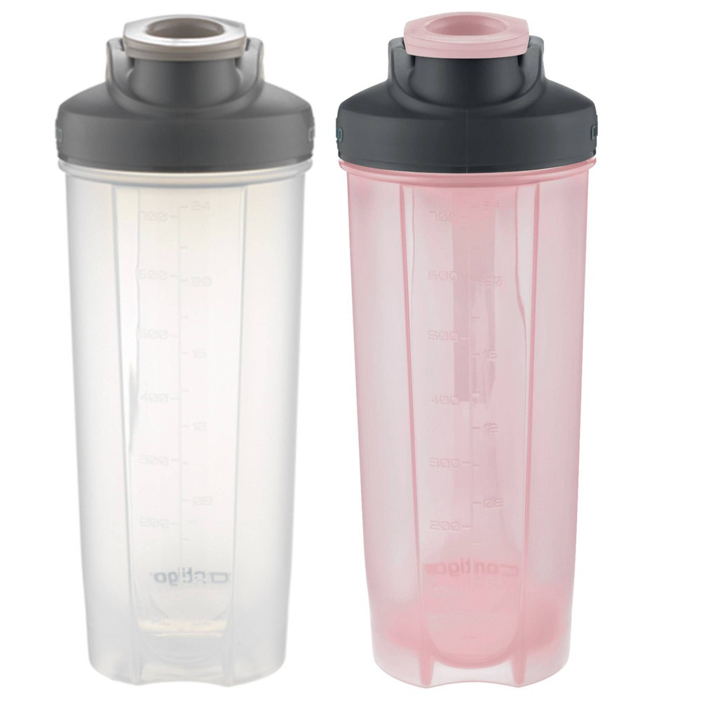 Image of Contigo 28oz 2pk Plastic Shake & Go Fit Bottle Grey Stone/Cotton Candy, Gray Pink