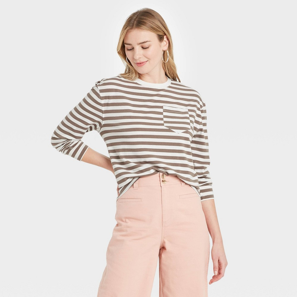 Women 39 S Striped Slim Fit Long Sleeve Round Neck Pocket T Shirt A New Day 8482 Brown M