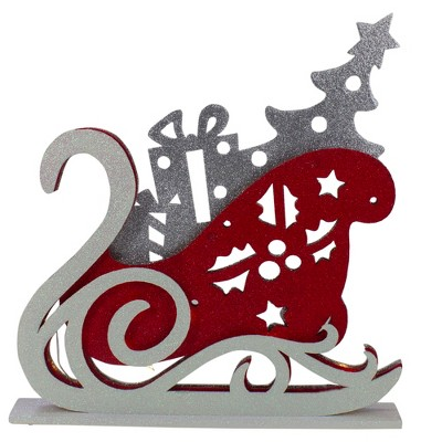 """Raz Imports 18"""" Pre-Lit Red and Silver LED Sleigh Christmas Tabletop Silhouette Decoration"""