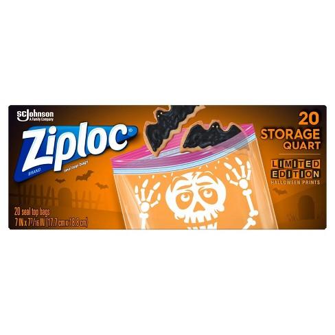 Ziploc Print Halloween Storage Bag Quart - 20ct - image 1 of 4