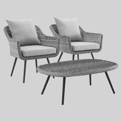 Endeavor 3pc Outdoor Wicker Rattan Patio Sectional Sofa Set Gray - Modway