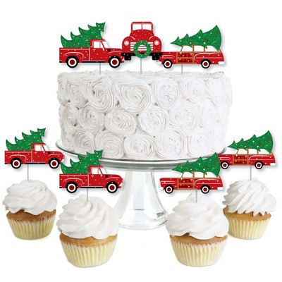 Big Dot of Happiness Merry Little Christmas Tree - Dessert Cupcake Toppers - Red Truck and Car Christmas Party Clear Treat Picks - Set of 24