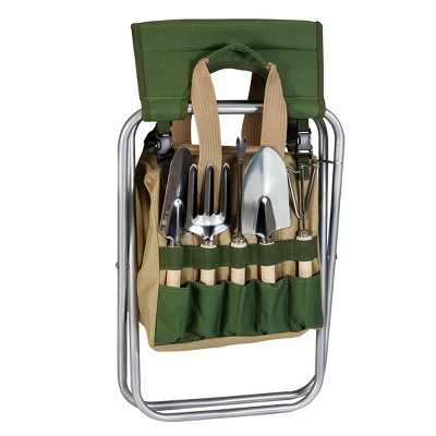 5 Pc Garden Tool Set with Tote And Folding Seat - Picnic Time, Green Brown