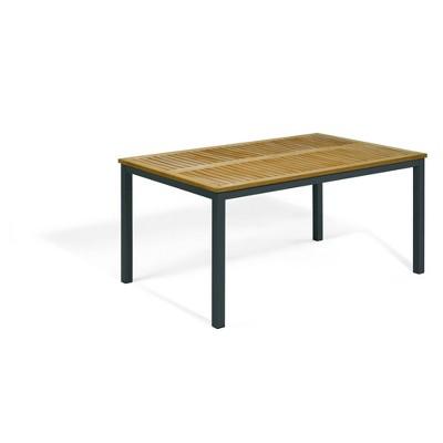 "Travira 63"" Rectangular Patio Table with Natural Tekwood Top & Carbon Powder-Coated Aluminum Frame - Oxford Garden"