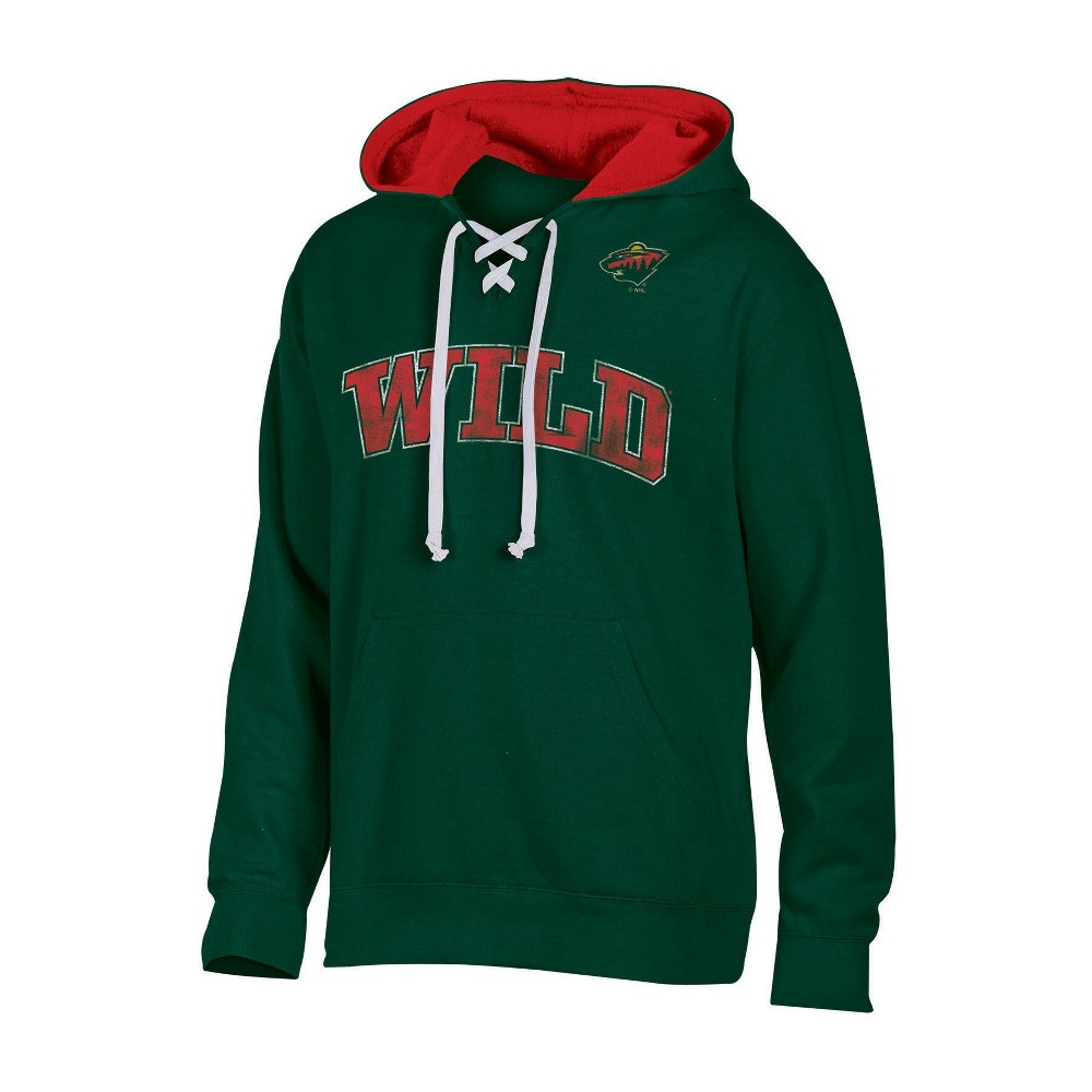 Minnesota Wild Men's Lace-Up Pullover Hoodie XL
