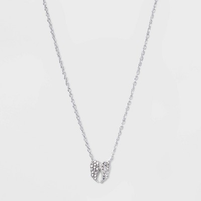 Sterling Silver Cubic Zirconia Wings Pendant Necklace - Silver Gray