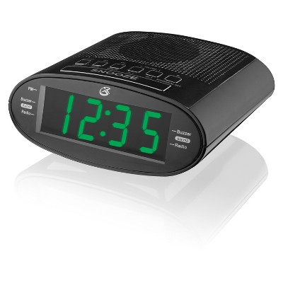 "GPX Clock Radio, AM/FM, 1.2"" LED Green Display, Dual Alarm - Black (C303B)"