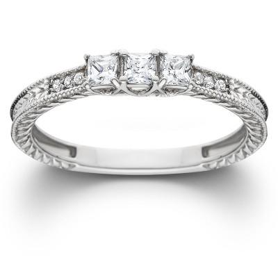 Pompeii3 1/3ct Vintage Three Stone Princess Cut Diamond Engagement Ring 14K White Gold