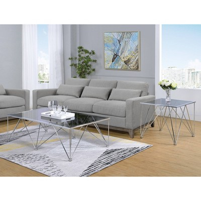 2pc Macie Occasional Coffee Table & End Table Set Chrome - Picket House Furnishings