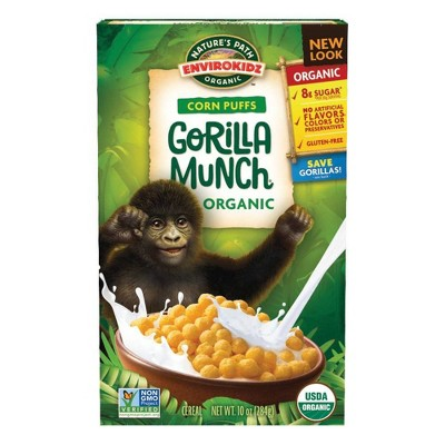 Nature's Path Envirokidz Corn Puffs Gorilla Munch Breakfast Cereal - 10oz
