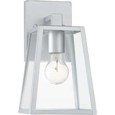 """John Timberland Modern Outdoor Wall Light Fixture Sleek Silver Steel 10 3/4"""" Clear Glass for Exterior House Porch Patio Deck"""