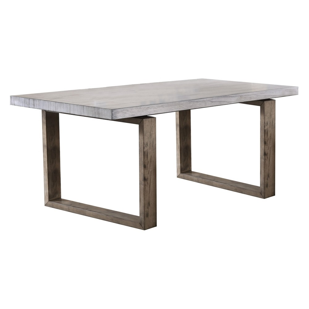 Acme Furniture Paulina Dining Table Light Gray/Rustic Oak Brown