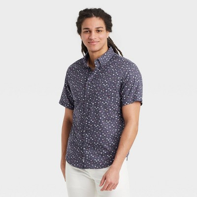 Men's Floral Print Regular Fit Short Sleeve Button-Down Shirt -  Goodfellow & Co™ Navy