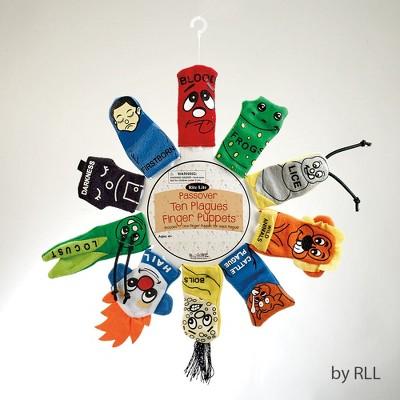 "Rite Lite 10ct ""Ten Plagues"" Passover Finger Plush Puppets 3.5"" - Green/Orange"