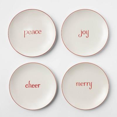 "6.5"" 4pk Stoneware Holiday Assorted Appetizer Plates White - Threshold™"