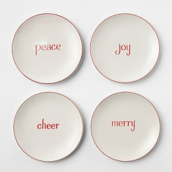 "6.5"" 4pk Stoneware Holiday Assorted Appetizer Plates White - Threshold™"