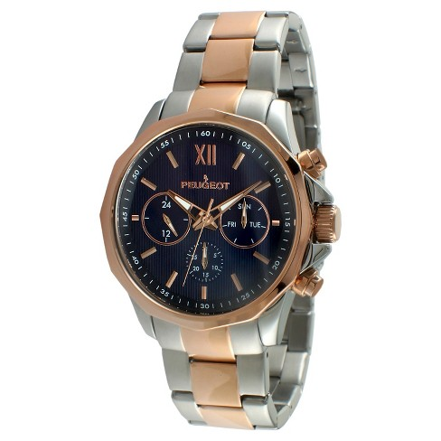 Men's Peugeot Stainless Steel  Multifunction Calendar Watch - Rose Gold - image 1 of 2