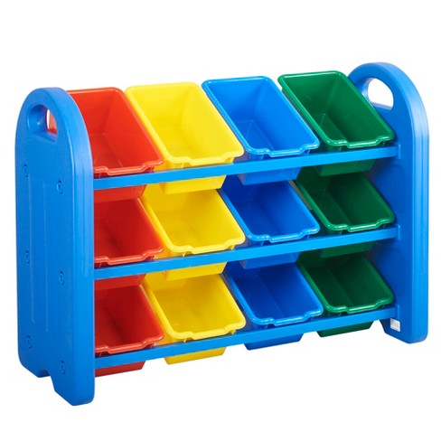 ECR4Kids 3-Tier Toy Storage Organizer for Kids, Blue with 12 Assorted Color Bins - image 1 of 4
