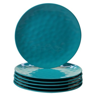 "Certified International Solid Color Melamine Dinner Plates 11"" Teal - Set of 6"