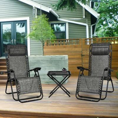 Costway 3PCS Zero Gravity Recliner Lounge Chairs Pillows Table Portable Folding Grey