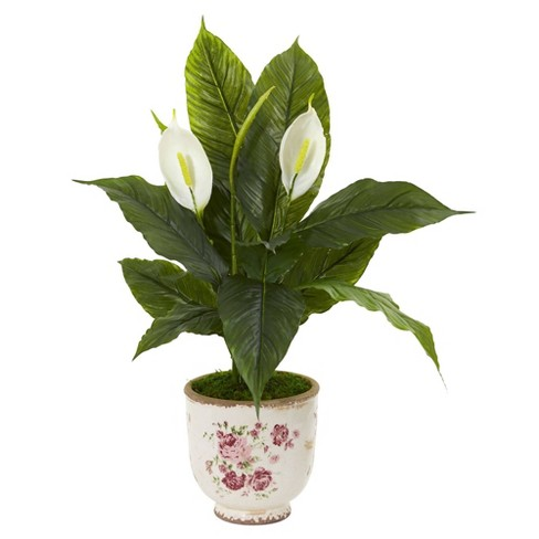 38 X 23 Artificial Spathiphyllum Lily In Decorative Vase White Nearly Natural Target