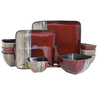 16pc Stoneware Double Color Square Dinnerware Set Red/Tan - Elama