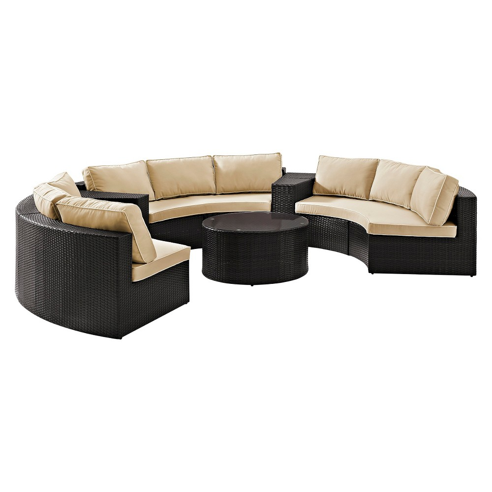 Crosley Catalina 6 Piece Outdoor Wicker Seating Set with Sand (Brown) Cushions