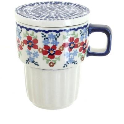 Blue Rose Polish Pottery Red Poppy Large Mug with Lid