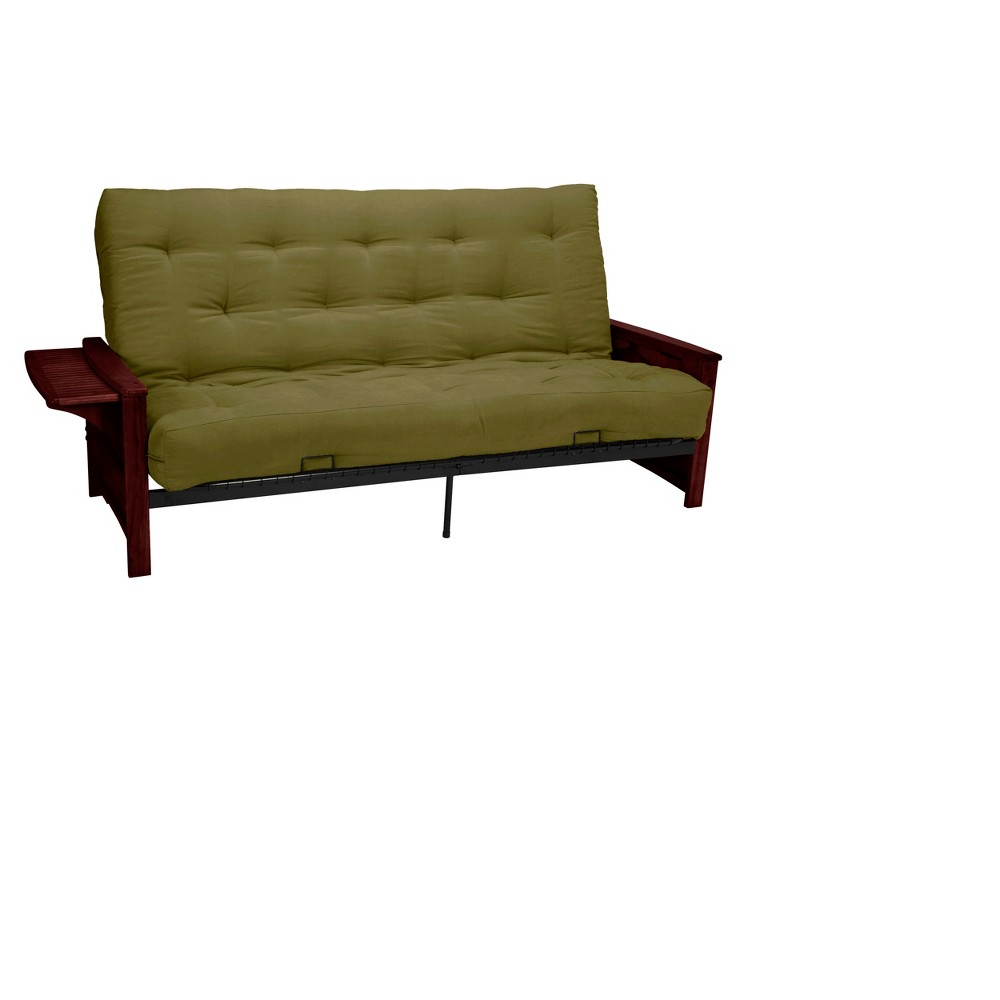 Brooklyn 8 Inner Spring Futon Sofa Sleeper - Mahogany Wood Finish - Epic Furnishings, Light Olive