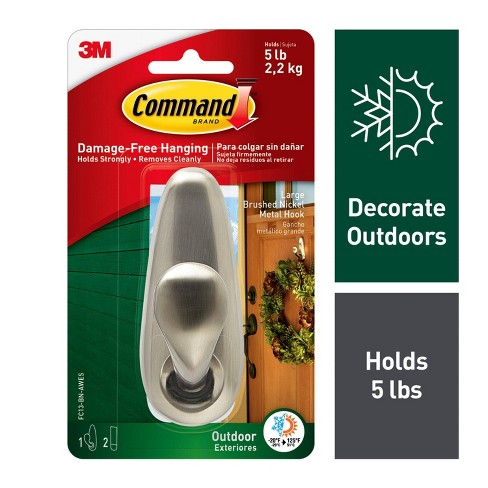 Command Large Sized Outdoor Forever Classic Metal Hook with Foam Strips (1 Hook 2 Strips) Brushed Nickel - image 1 of 10