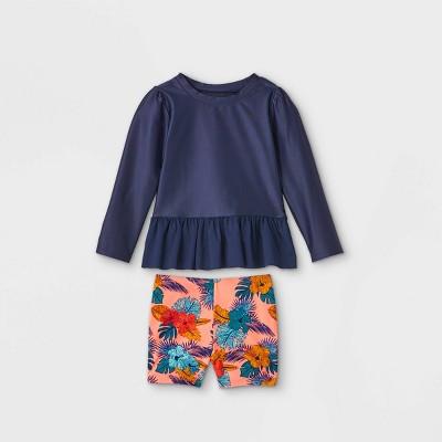 Toddler Girls' Floral Long Sleeve Rash Guard and Shorts Set - Cat & Jack™ Navy/Pink