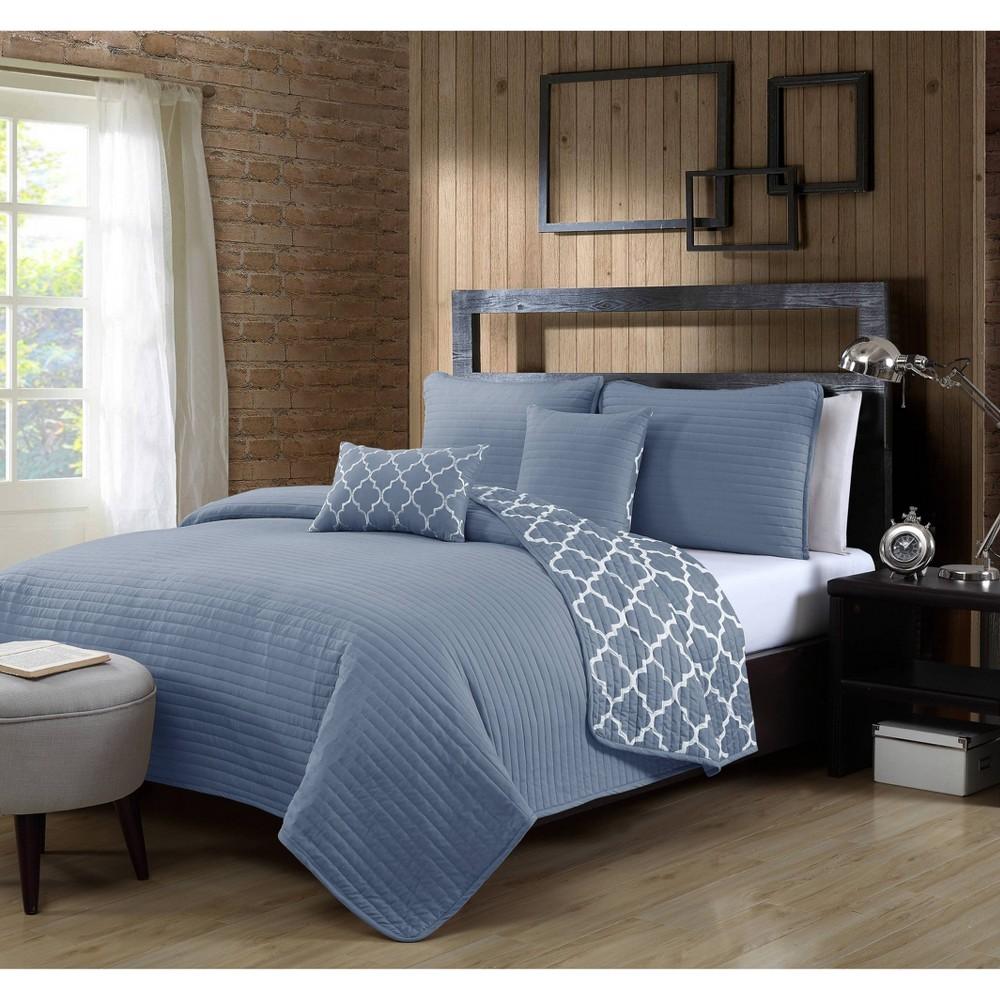 Image of Geneva Home Fashions Queen 5pc Avondale Manor Griffin Quilt & Sham Set Blue